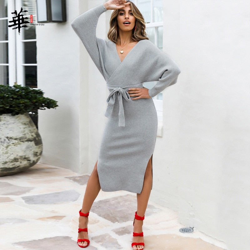 New Sexy Autumn V Neck With Cross Belt Sweater Knitted Women Dress Split Slim 2019 Winter Long Sleeve Solid Color Elegant Ladies