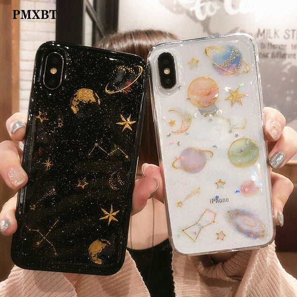 Luxury Glitter Space planet phone Cases For iphone XS MAX XR Back Cover Case For iPhone X 8 7 6S Plus 10 Soft Silicon Case Coque