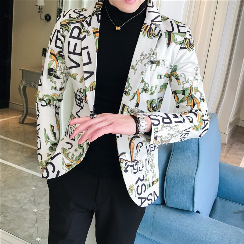New Men Blazer Luxury Flowers Allover Printing Prom Suit Blazers Single Button Party Male Nightclub Slim Fit Wedding Suit Jacket