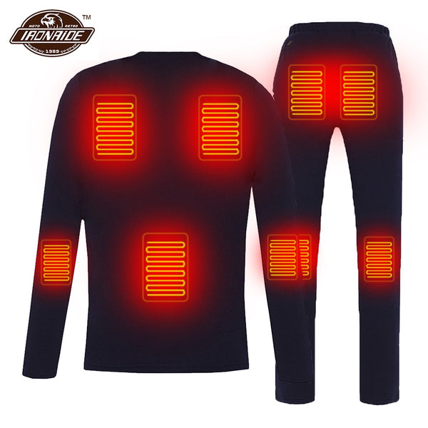 Winter Heated Jacket Men Women Motorcycle Heating Jacket Electric USB Heating Thermal Underwear Set Shirt Top Clothes M-4XL##