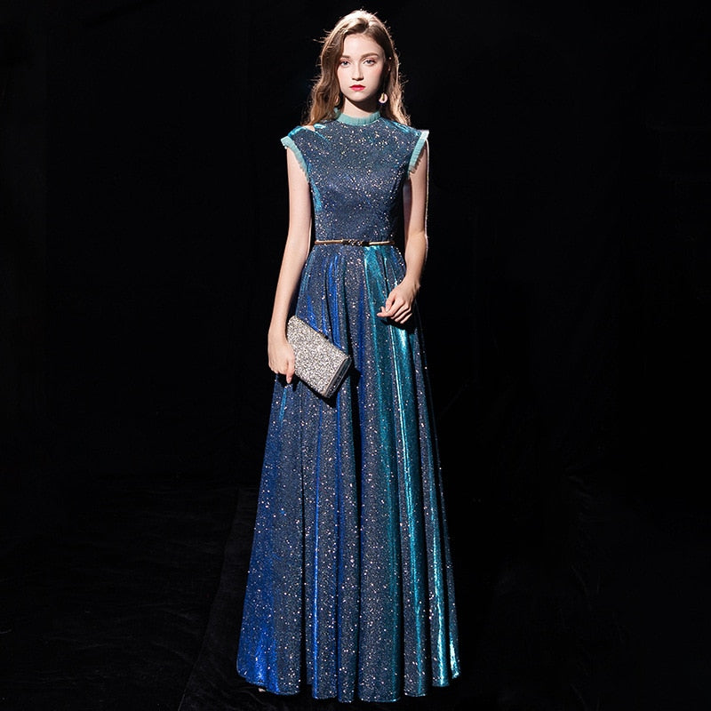 Party dress female aura queen elegant high-end show host thin christmas dress teamed aristocratic temperament