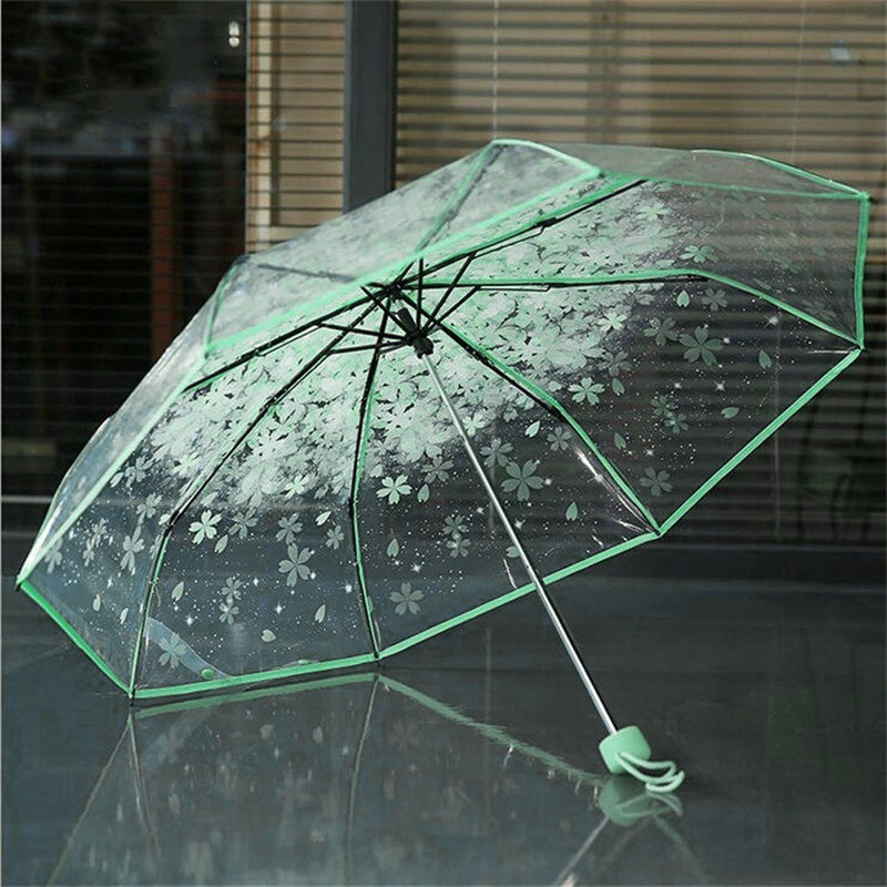 Transparent Umbrellas For Protect Against Wind And Rain Clear Sakura 3 Fold Umbrella Clear Field Of Vision Household Rain Gear