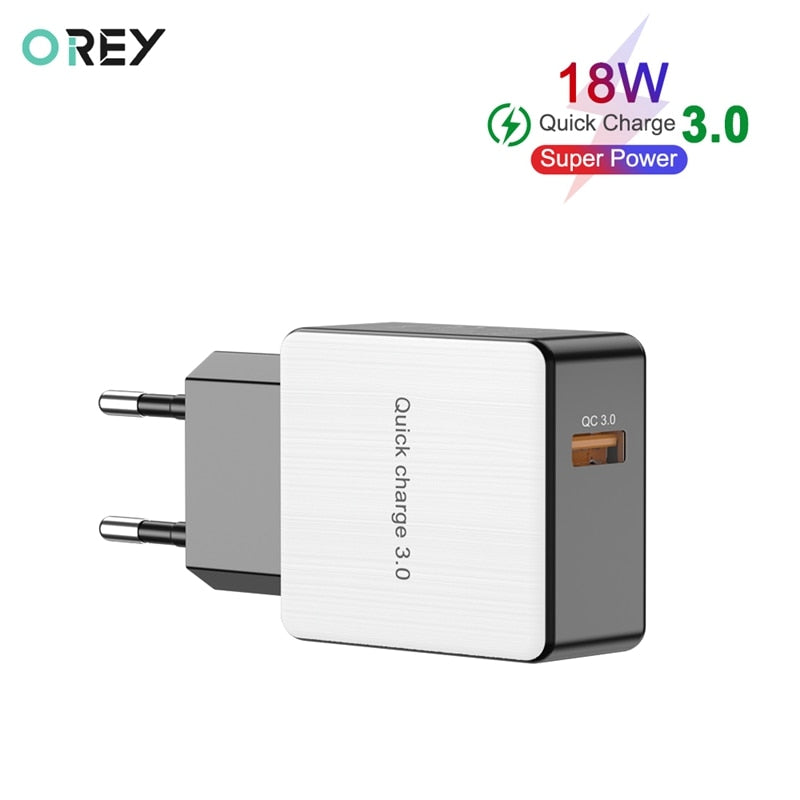 OREY 18W Fast Charger QC 3.0 USB Charger For iPhone X Quick Charge 3.0 Phone Charger Adapter For Xiaomi Mi 9
