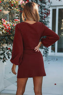 Women's Autumn Solid Red Vintage Slashes Long Sleeve Knit Tight Corset Pencil Cocktail Party Sweater Dress 4 Colors
