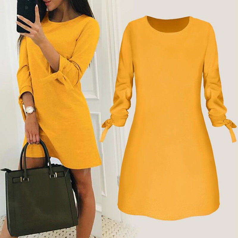 2019 Spring New Fashion Solid Color Dress Plus Size Casual O-Neck Loose Dresses 3/4 Sleeve Bow Elegant Beach Female Vestidos