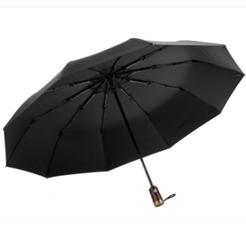 Leodauknow Business fully automatic three folding windproof solid wood handle with metal men's sunny and rainy umbrella