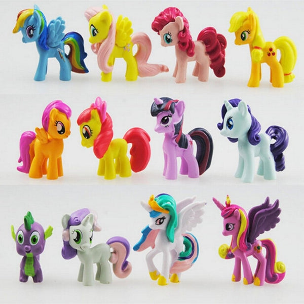 12 pcs/set 3-5cm My little pony PVC Rainbow horse cute little horse action toy figures dolls for girl birthday christmas gift