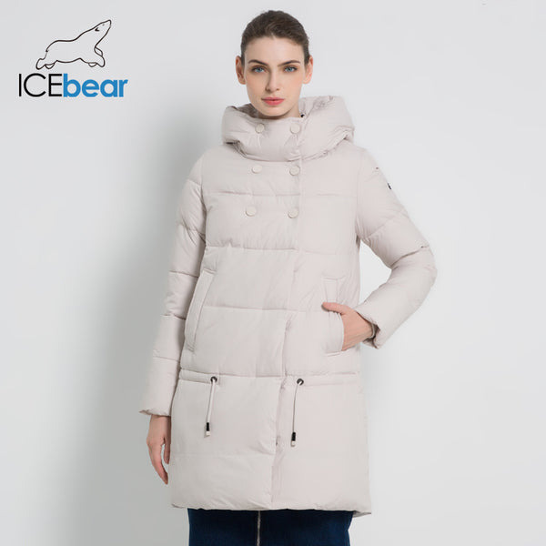ICEbear 2019 New Winter Ladies Jacket High Quality Long Women Clothing Thick Warm Female Coat Fashion Brand Apparel 17G6192