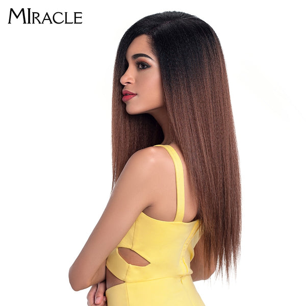 "Miracle Hair Ombre 26""Inch Long Straight Synthetic Hair Lace Front Wigs For Black Women Yaki Lace Wigs With Baby Hair Free Part"