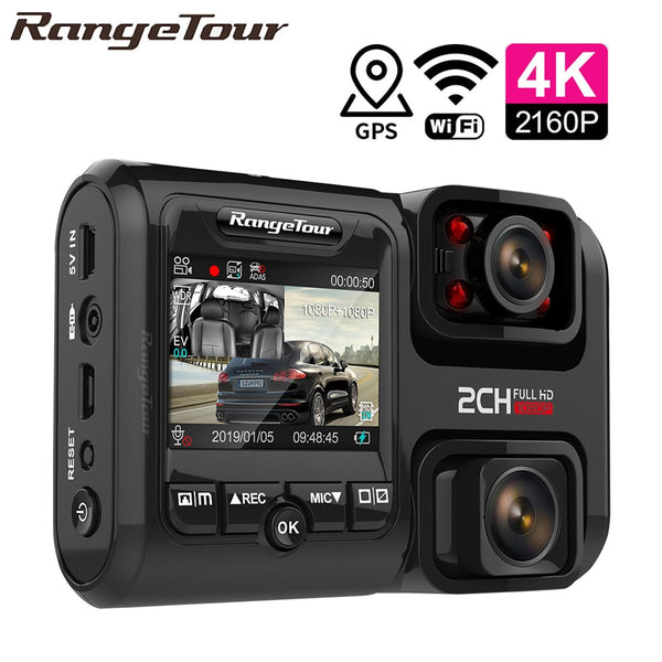 4K 2160P WIFI GPS Logger Dual Lens Car DVR Novatek 96663 Chip Sony IMX323 Sensor Night Vision Dual Camera Dash Cam Recorder D30H