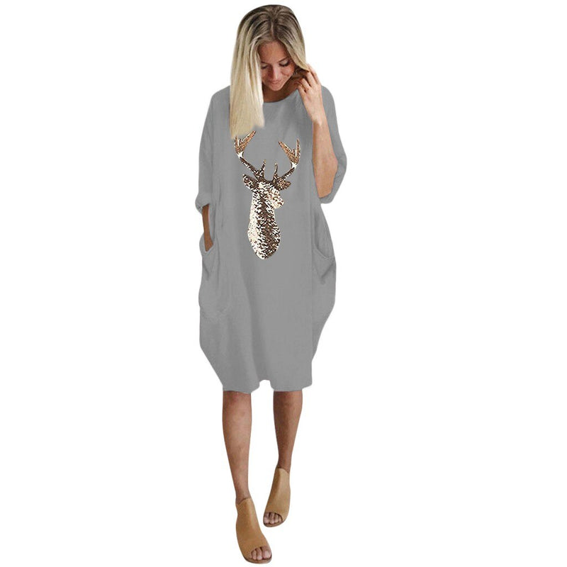 Women Long Sleeve Dress Harajuku Casual Knee-length Dress S-5xl Plus Size Dresses Elbise Christmas Moose Print Party Vestidos d5