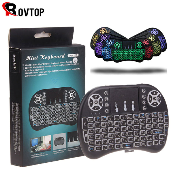 Rovtop 7 Color Backlit I8 Mini Spanish Wireless Keyboard Mouse 2.4ghz USB Keyboard Touchpad for Laptop Smart TV English Russian