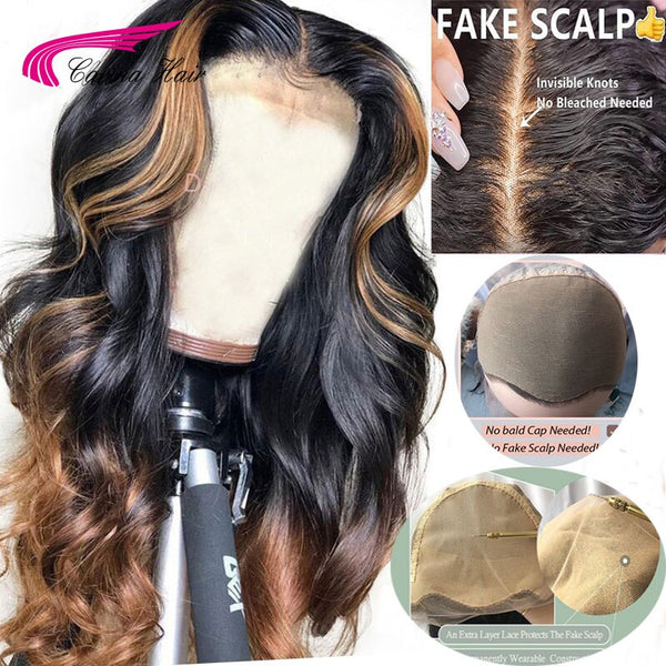 13*6 Fake Scalp Brazilian Loose Deep Lace Front Human Hair Wigs PrePlucked Honey Blonde Remy Lace Wig With Highlight Carina