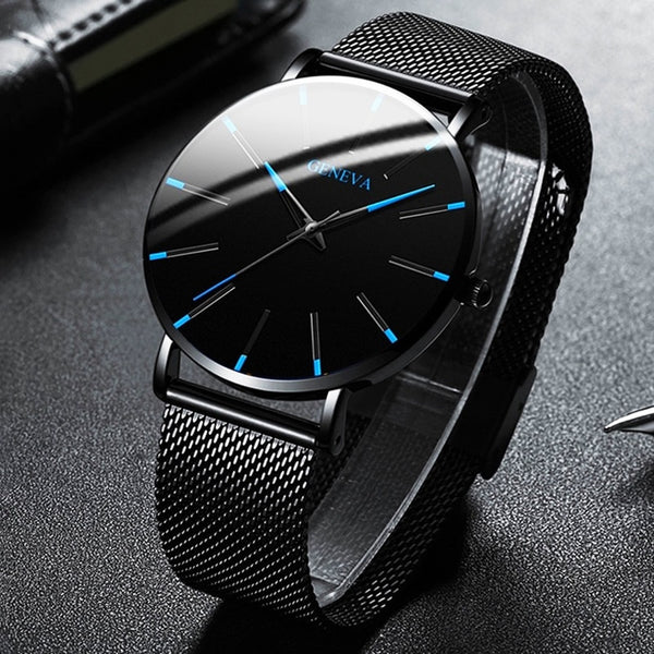 2020 Minimalist Men's Fashion Ultra Thin Watches Simple Men Business Stainless Steel Mesh Belt Quartz Watch Relogio Masculino