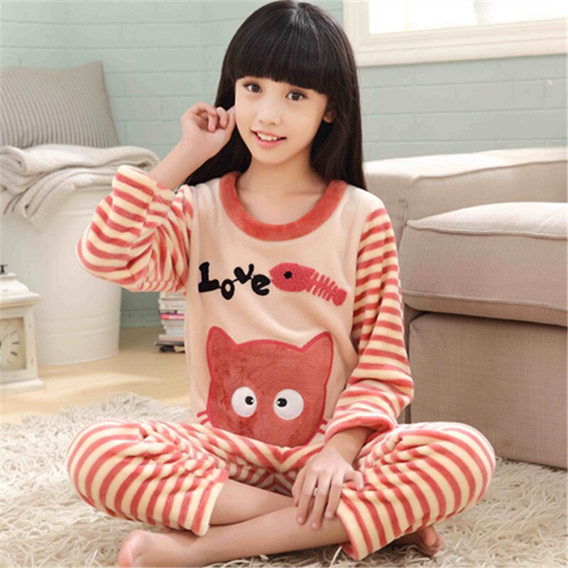Kids Flannel Pajamas winter christmas pyjamas for children thick warm Long Sleeve Cute Sleepwear Set Girls Boys Casual home suit