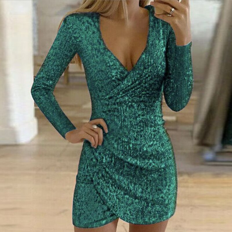 VIEUNSTA Sexy Silver Glitter Dresses for Women 2019 Deep V-Neck Sequin Mini Bodycon Dress Autumn Winter Long Sleeve Party Dress
