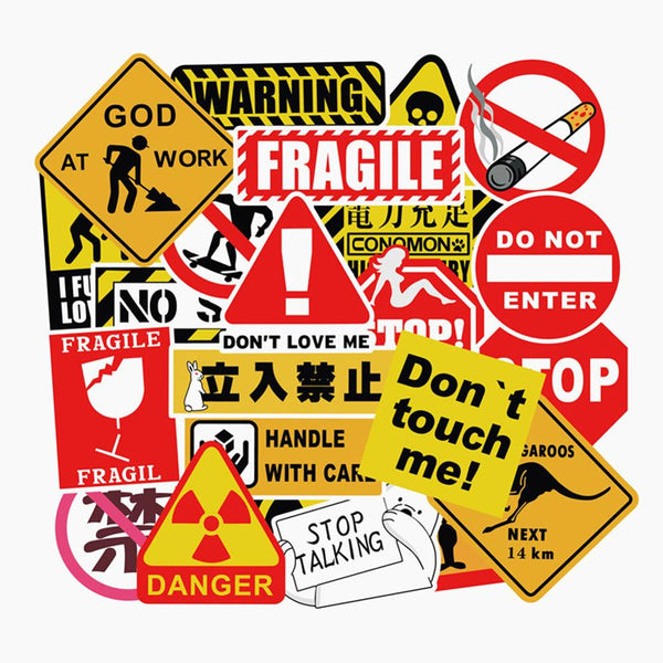 50Pcs Warning Stickers Cool Waterproof Spoof Graffiti Skateboard Pad Car Laptop Snowboard Bicycle Luggage Decal FaceGoo Lite