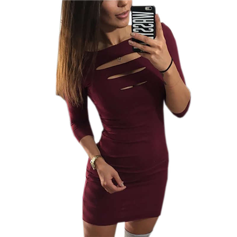 ZSIIBO 2019 new sexy slim bag hip mini dress chest opening seven-point sleeve dress bottoming dress