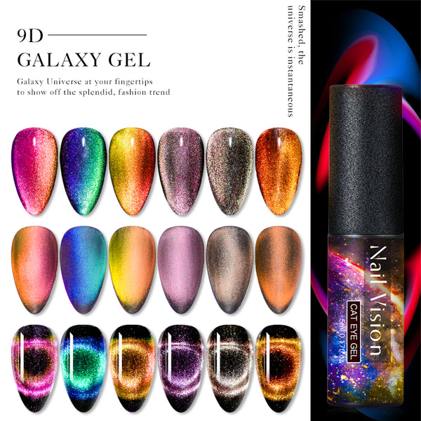 Nail Vision 9D Galaxy Cat Eye Nail Gel Chameleon Magnetic Soak Off UV Nail Varnish 5D/7D 5ml Semi Permanent Manicure Gel Lacquer