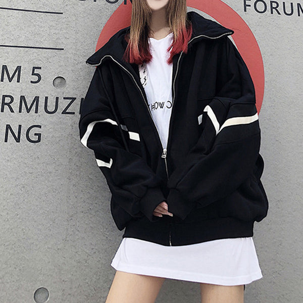 2019 Spring Autumn Women Contrast Short Jacket Long Sleeve Zipper Solid Jacket Korean Loose Patch Female Student Coat Tops#J30