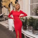 NIBBER autumn hot club party night simple backless midi dress Women2019Elegant stretch Slim red black Medium bodycon dress mujer