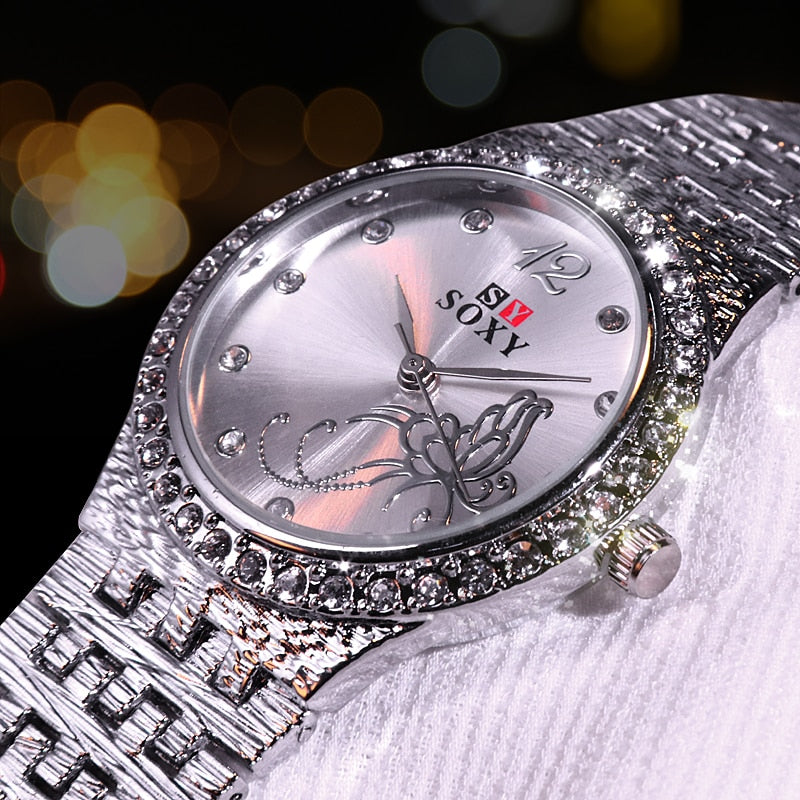 New Women Bracelet Watches Fashion  Rhinestone  Women's Watches Flower Butterfly   Exquisite  Casual Ladies Watch Female Clock