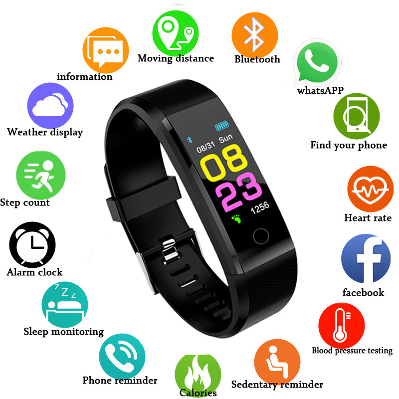 Sport Smart watch waterproof Activity Fitness tracker Wristband Heart rate monitor BRIM Men women smartwatch For Android Ios