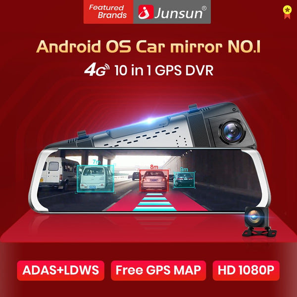"Junsun A930 ADAS 4G 10"" IPS Car DVR Camera mirror Dash cam Video Recorder Full HD 1920x1080 Rear View Mirror Android OS WiFi GPS"
