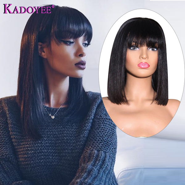 "KADOYEE Lace Front Human Hair Wigs Brazilian Remy Hair 13x4"" Parting Straight Wig with Bangs 8""-26"" PrePlucked 130% 150% Density"