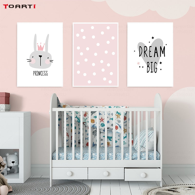 Pink Cartoon Nursery Girl Wall Picture Poster Print Rabbit Crown Baby Room Modern Canvas Painting Kids Children Wall Art Mural