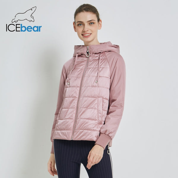 ICEbear 2019 New Women's Autumn Coat High Quality Brand Clothing Short Coat with Hat Fashion Woman Clothing GWC19070I