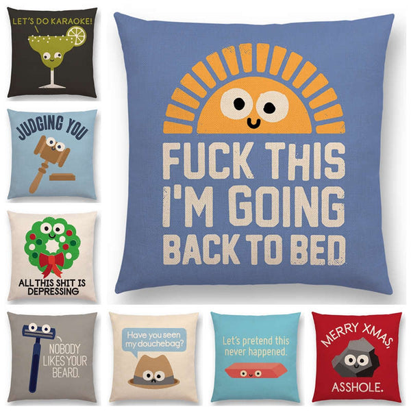 Newest Cartoon Series Cushion Cover Turnip Bulb Pizza Funny Words Decorative Letters Sofa Pillow Case