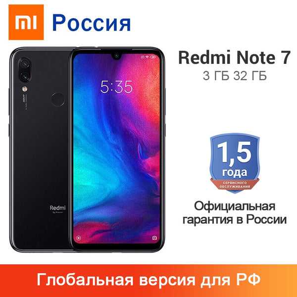 "Global Version Xiaomi Redmi Note 7 3GB 32GB Smartphone Snapdragon 660 Octa Core 4000mAh 6.3"" 2340 x 1080 48MP+13MP Cellphone"
