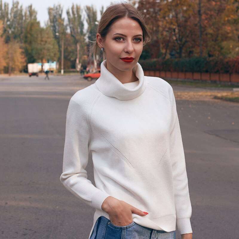 GIGOGOU Thick Turtlneck Cowl Neck Women Sweater Streetwear Knitted Pullovers Top Autumn Winter Clothes Christmas Sweater Pull