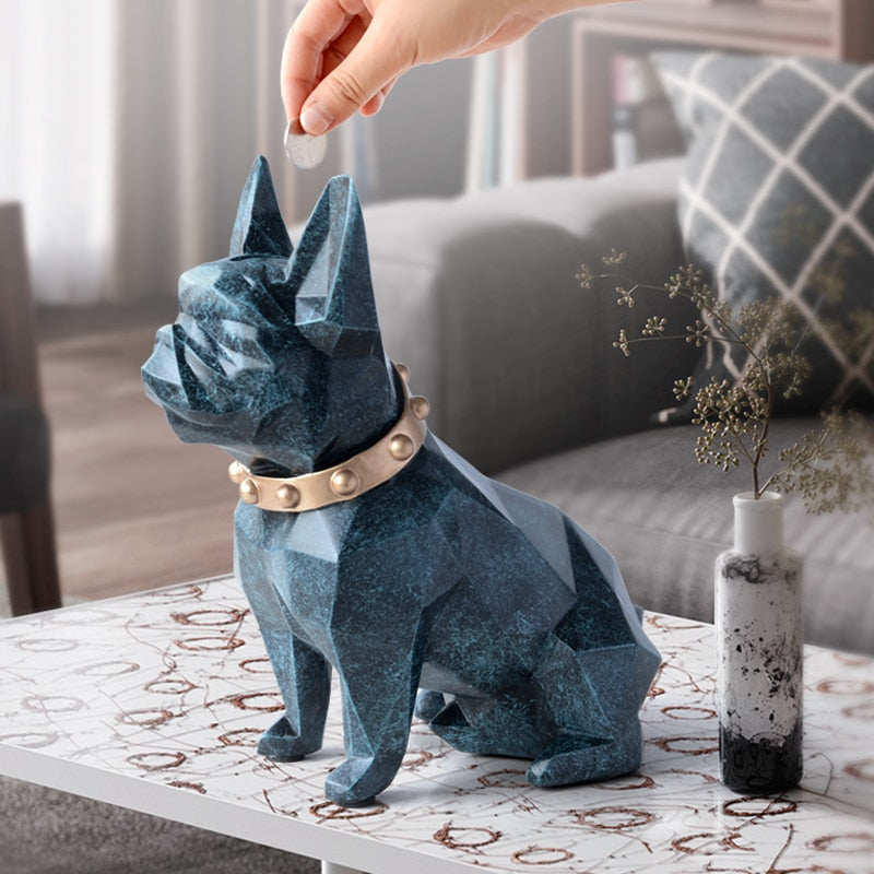 cute coin bank box resin Dog figurine home decorations coin storage box holder toy child gift organizer money box dog for kids
