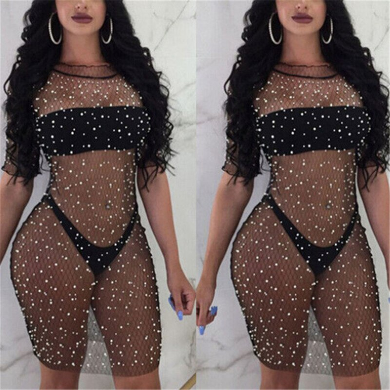 Womens Lace Fishnet Dress See Through Shiny Black Mesh Knee Length Dress Sexy Clubwear Summer Dress Women