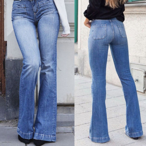 Women Denim Bootcut Jeans Stretch Wide Leg Denim Pants Flare Bell Bottom Female