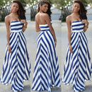 Womens Off Shoulder Striped Maxi Dress Party Long Maxi Beach Sundress Sexy Sleeveless Backless Dress Summer Dress Womens 2019