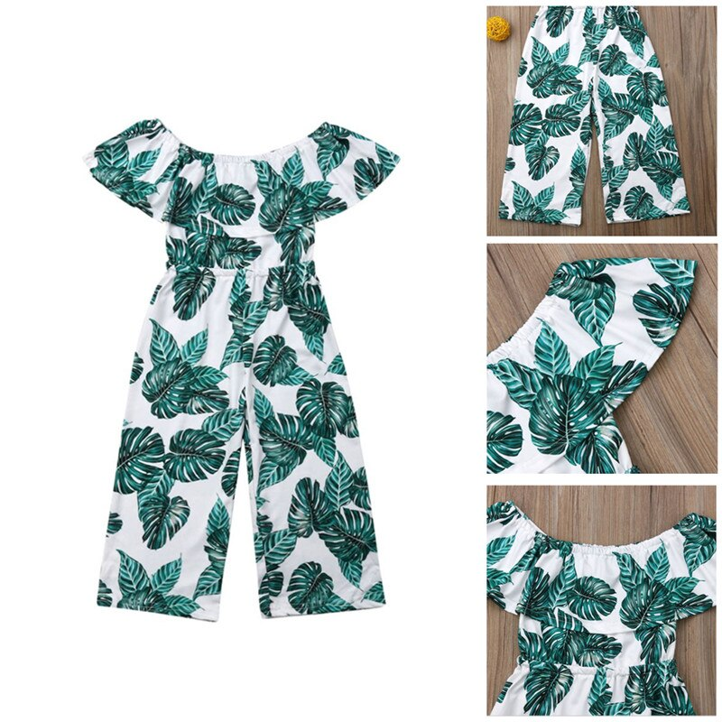 2019 Toddler  Baby Girl Princess Fashion Green leaf printing Clothes Summer Outfits Children clothing set roupas menina