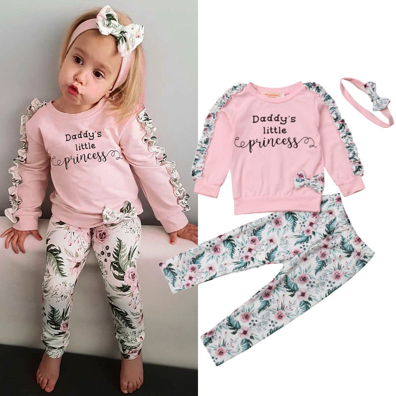 2018 Autumn Winter Cute Pretty Infant Baby Girls Clothes 3PCS Ruffles Sleeve Letter Floral Pink Pullover Tops+Pants+Headband