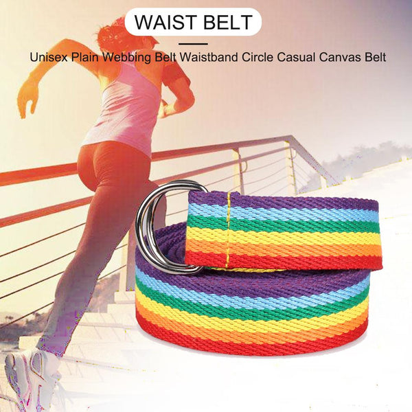 Women's Double Ring Buckle Rainbow Strip Webbing Casual Wild Long Decorative Canvas Belt Waistband Fashion