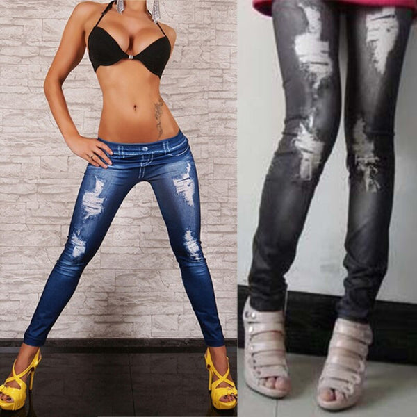 Women Blue Black High Waist Faux Denim Stretch Pencil Pants Jeans Leggings