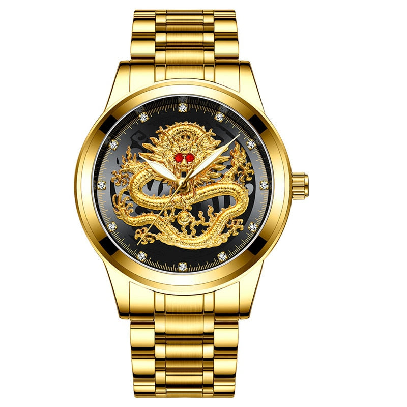 Fashion Men Watch Golden Mens Watches Top Brand Luxury Waterproof Full Steel Quartz Dragon Clock Male 2020 Relogio Masculino