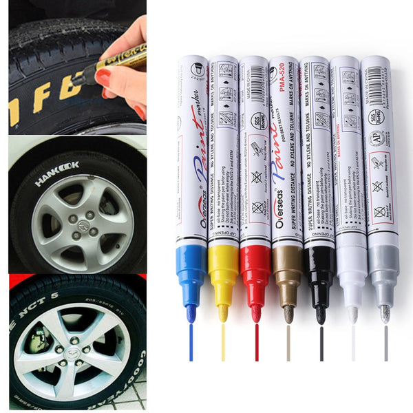 Colorful Styling Waterproof Pen Car truck Tires Tread CD Metal Permanent Paint Markers Tyre Oily Graffiti
