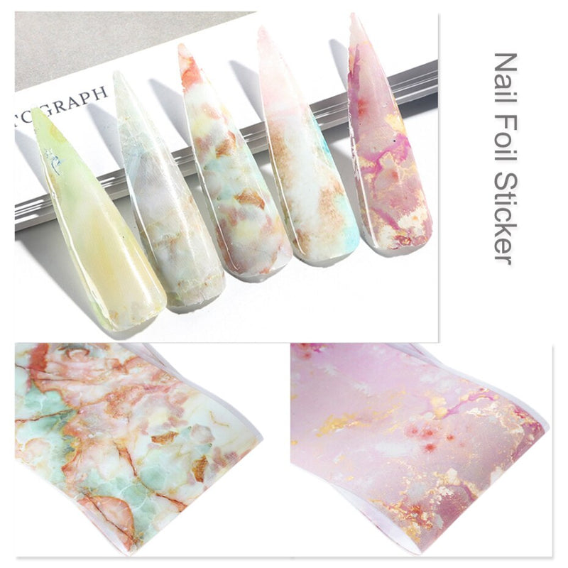 10PCS Nail Foil Sticker Set Holographic Starry Sky Adhesive Wraps Transfer Paper Marble Shining Nail Art Decal Gel Slider CH1022