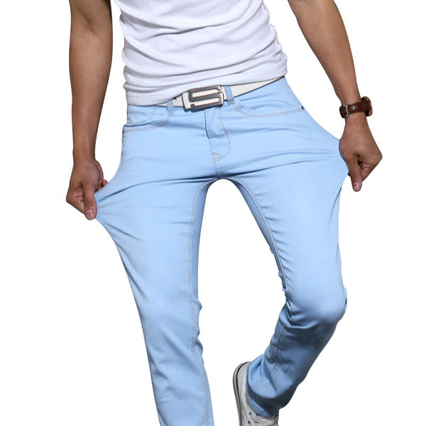 2019 New Men Stretch Skinny Jeans Fashion Casual Slim Fit Denim Trousers Blue Black Khaki White Pants Male Brand Clothes