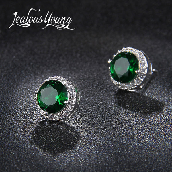 Classic Green AAA Cubic Zirconia Stud Earrings Round Crystal Girl Ear Studs For Women Multicolor Fashion Jewelry brincos AE176