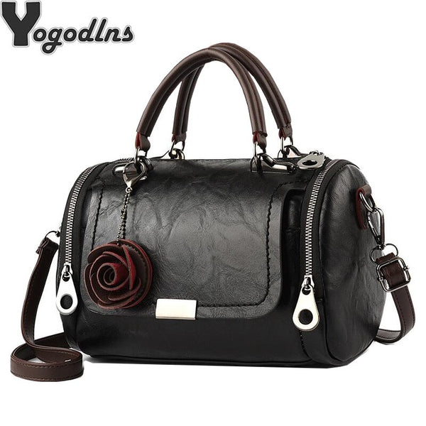 Fashion Women Shoulder Bag with Flower Pendant Ladies Totes Party Purse Boston Handbag Casual Female Messenger Crossbody Bags