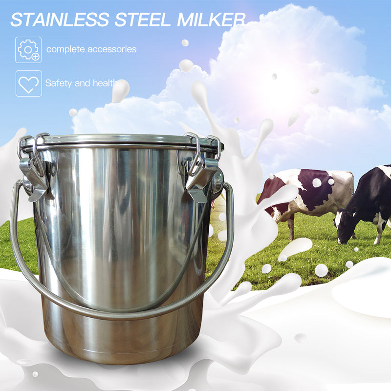 5L Electric Milking Machine for Cattle Goat Stainless steel  Milker Vacuum Pump Bucket 220V Milking Machines Farm Livestock tool