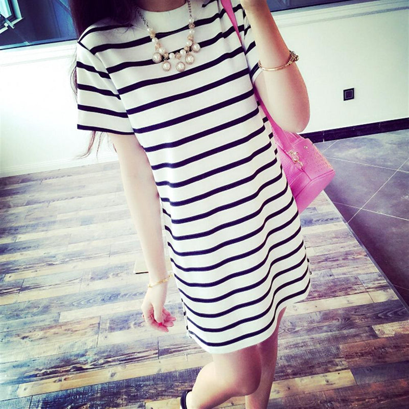2019 Hot Sale New Spring Summer Women Round Neck Fashion Black and White Striped Long Sleeve Straight Plus Size Casual Dress